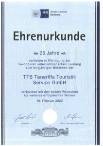 Urkunde 25 Jahre TTS